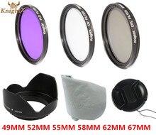 KnightX 52mm 58mm 67mm 55mm UV CPL FLD Filtro de la lente Conjunto en forma de pétalo lentes capucha para canon sony nikon d5200 d5100 d3200 d3100 D3000