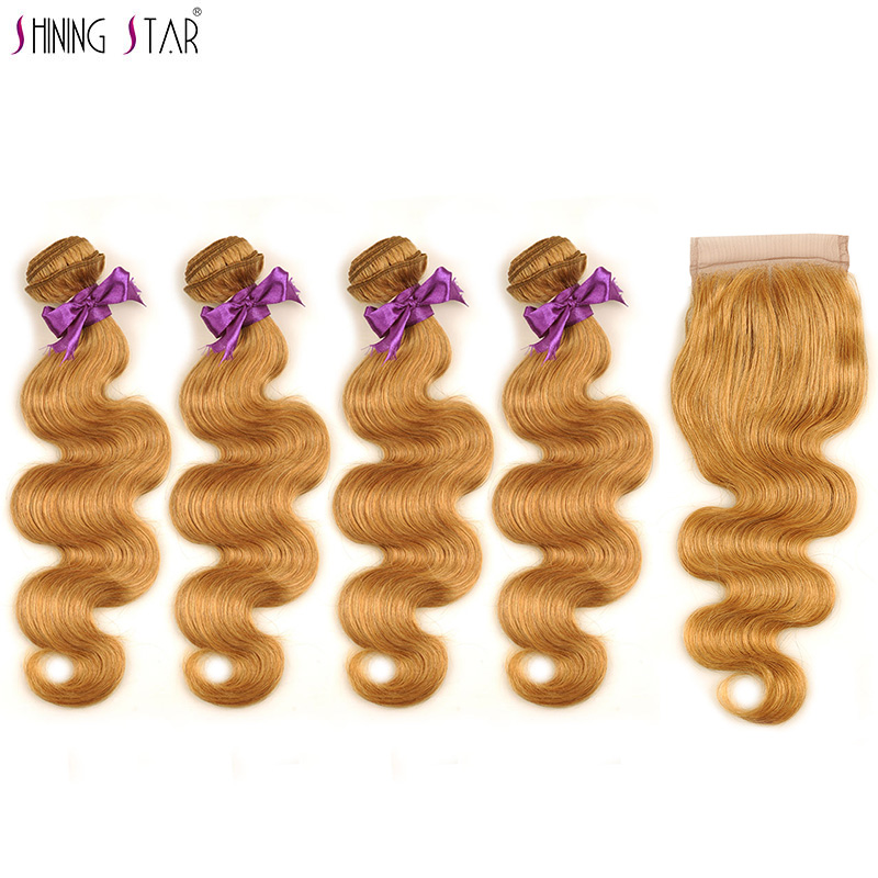 New Honey Blonde Body Wave Bundles With Closure 27 Colored Indian Human Hair 4 Bundles With Closure Nonremy Shining Star Weaves