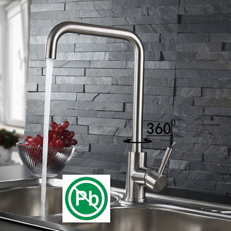 SUS304 Stainless Steel Water Faucets Mixer Tap Household Dish Water Tank Mixing Valve Kitchen Faucet Brushed Surface sus304 stainless steel dish basin faucet water tap ceramic disc cartridge single hot cool water mixer rotable unleaded faucet