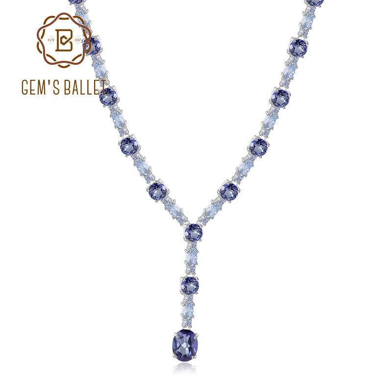 GEM S BALLET Natural Mystic Quartz Sky Blue Topaz Necklace 925 Sterling Silver Wedding Bridal Necklace