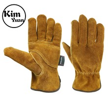KIM YUAN Waterproof Leather Work Gloves, 1 Pairs Thorn Proof Gardening Heavy Duty Rigger Gloves for Gardening, Fishing