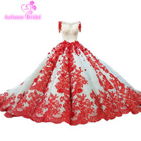 2018 Bride Wedding Princess Dream Luxury Wedding Dress Red Lace Bridal Wedding Gown Vestido De Noiva