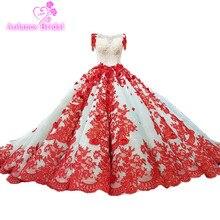 2018 Bride Wedding Princess Dream Luxury Dress Red Lace Bridal Gown Vestido De Noiva Barato Muslim