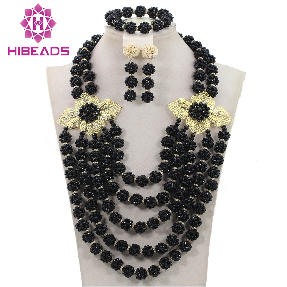 Black Jewelry Sets Crystal Necklace Romantic Nigerian Wedding African Beads Jewelry Set Bridal Jewelry Sets Free Shipping ABH237Black Jewelry Sets Crystal Necklace Romantic Nigerian Wedding African Beads Jewelry Set Bridal Jewelry Sets Free Shipping ABH237