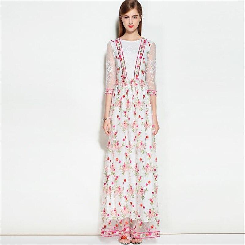 UNIQUEWHO Women Long Lace Dress Slim Elegant Maxi Dress Exquisite Flower Embroidery Summer Dresses Ladies Evening Party Dress