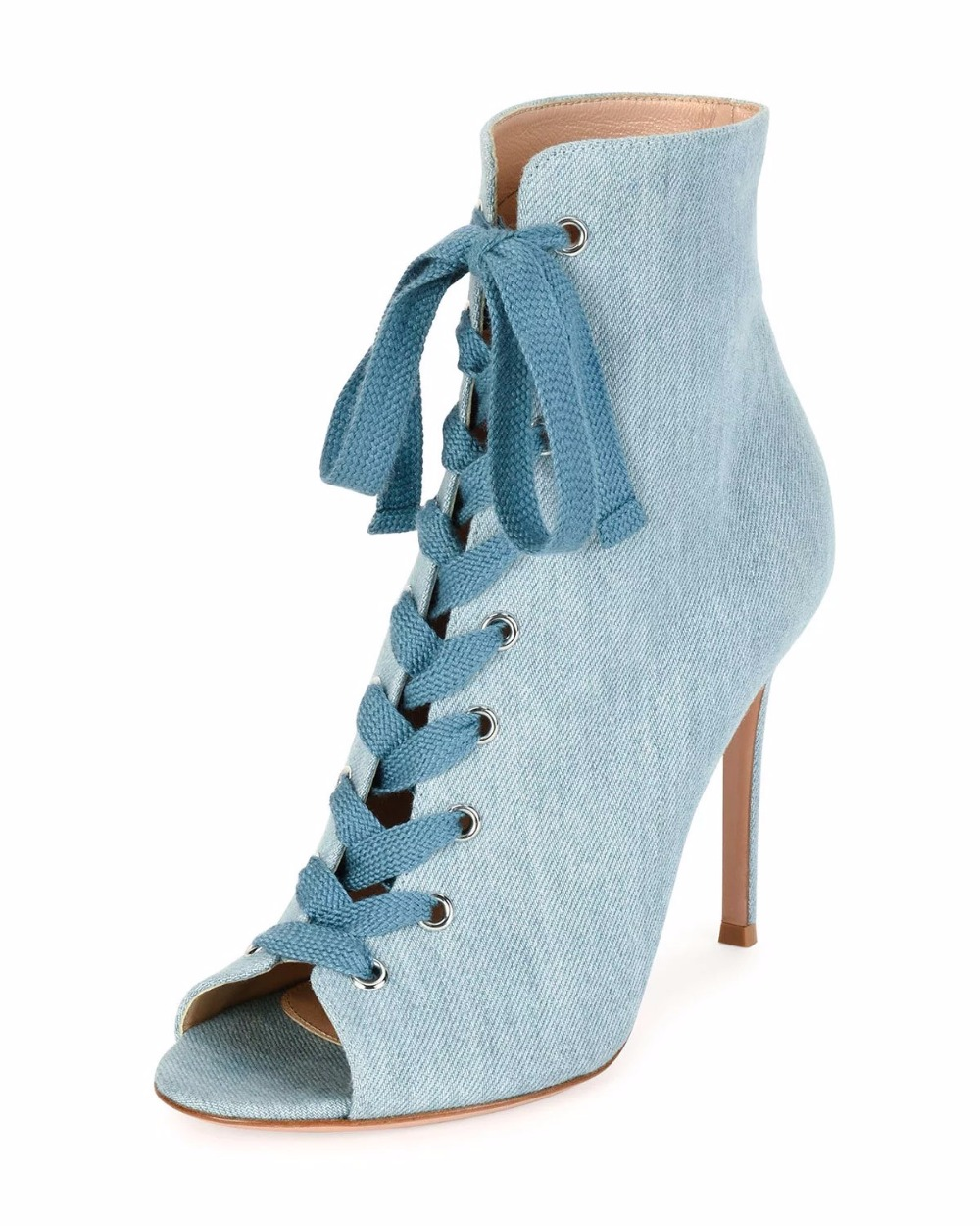 2017 Spring women fashion jeans shoes super high heels peep toe women sexy blue denim high heel dress shoes lace up heels