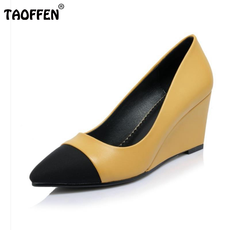 Women High Heels Plus Size 32-42 Sexy Office Pointed Toe Wedges Shoes Slip-on Women Pumps Fashion Mixed Color Ladies Shoes plus size 34 49 new spring summer women wedges shoes pointed toe work shoes women pumps high heels ladies casual dress pumps