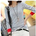 2016 New Women Tshirts Tops Fashion Casual Black White Striped Long Sleeve T Shirt Women Plus Size Camisetas Shirts