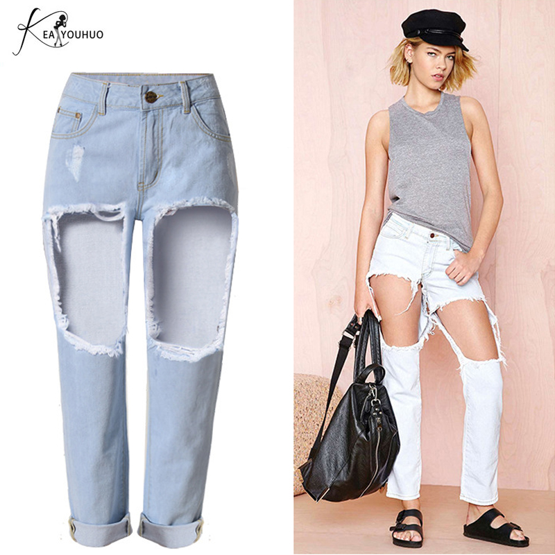 Summer Ripped Jeans For Female Casual Knee Big Holes Boyfriend Jeans for Women Regular Long Torn Jeans Denim Pants High jeans mickey mouse body parts