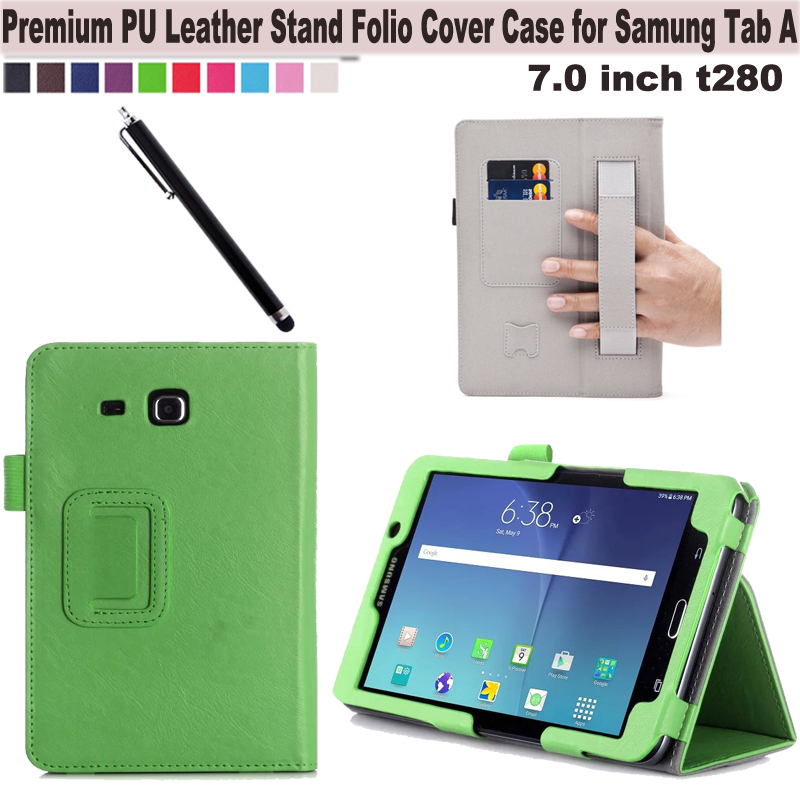 Wallet Flip Cover Folio PU Leather Stand Case W/Card holder, Hand Strap for Samsung Galaxy Tab A 7-inch Tablet SM-T280/ SM-T285