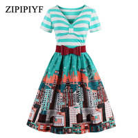 ZIPIPIYF 1950s Summer Vintage Dress V Neck Knee Length Striped Patchwork Pin Up Party Dress Elegant