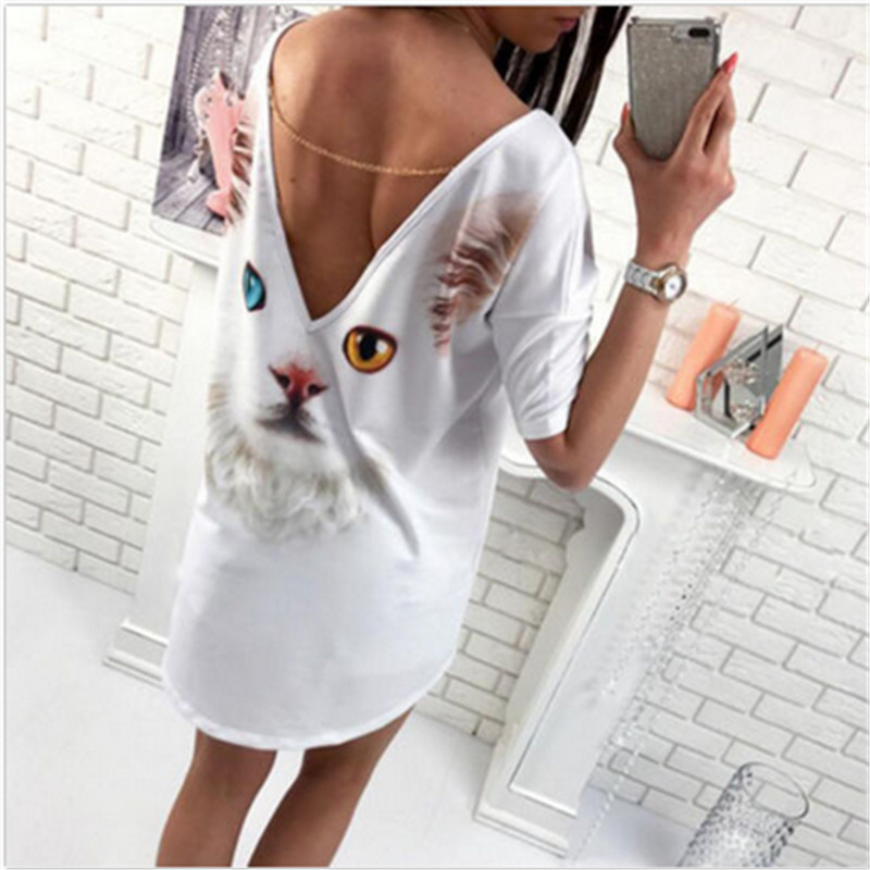 2017 Summer Women Back Split 3D T-shirt Dress White  Cat Pattern T Shirt Dress Women Vestido