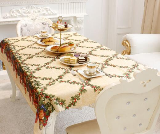 10pcs 2017 New Christmas fabric tablecloth table flag tea table rectangular printing creative Christmas restaurant ornamen