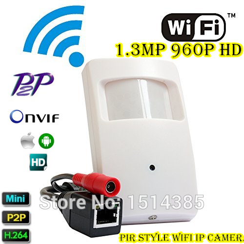 IP WIFI Covert Cam Wireless PIR Style Wifi Camera 960P Megapixel Mini Wifi IP Camera Onvif P2P Support Smartphone View gerber mini covert 22 46924