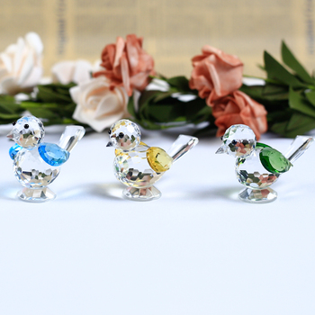 1 Piece Cute Bird Crystal Crafts Glass Animal Sparrow Figurines Miniatures For House Ornaments Home Decoration Accessories Gifts 1
