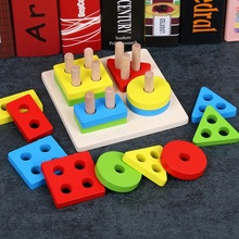 Toy Sorting-Board Cognitive Learning-Toys Montessori Geometry-Shape Math Wooden Matching