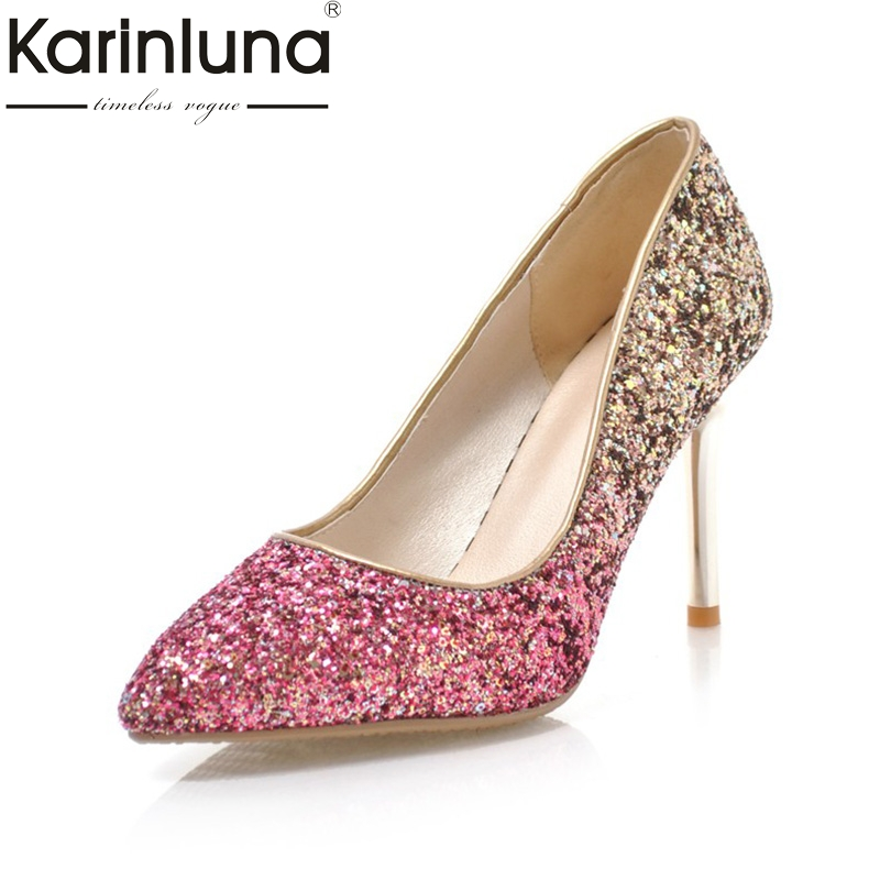 Karinluna Fashion 2018 Plus Size 32-43 Pointed Toe Women Pumps Shoes Woman Slip On Thin High Heels Party Wedding Pumps 7 Colors platform pumps fashion 2015 new shoes pumps pointed toe women pumps bowtie party slip on spool heels size 34 43