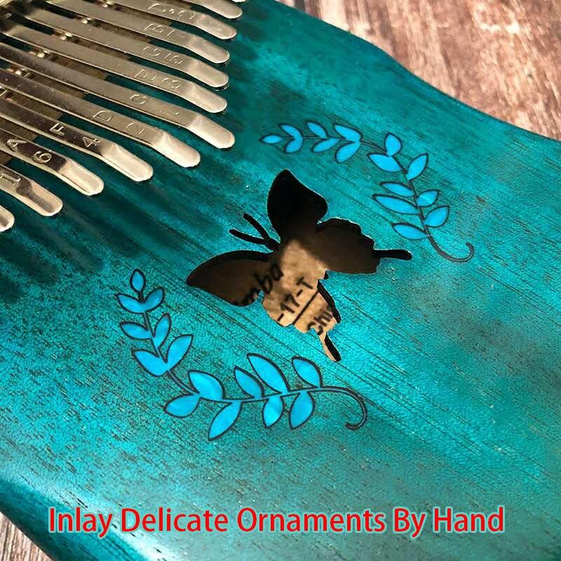 17Keys kalimba Thumb Piano Mbira Solid Mahogany Wood Keyboard Blue Christmas Gift Toy with Accessories Set thumb piano