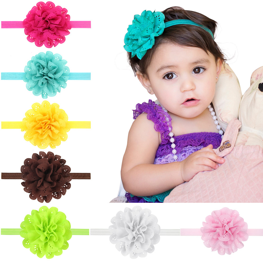 Fabric Chateau Lace Flower With Elastic Foe Headband Baby Girl