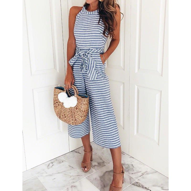 Summer Sleevless Stripe Jumpsuits Romper Women Overalls Ladies Loose Calf Length Wide Pants Woman Jumpsuits With Belts WS8220O