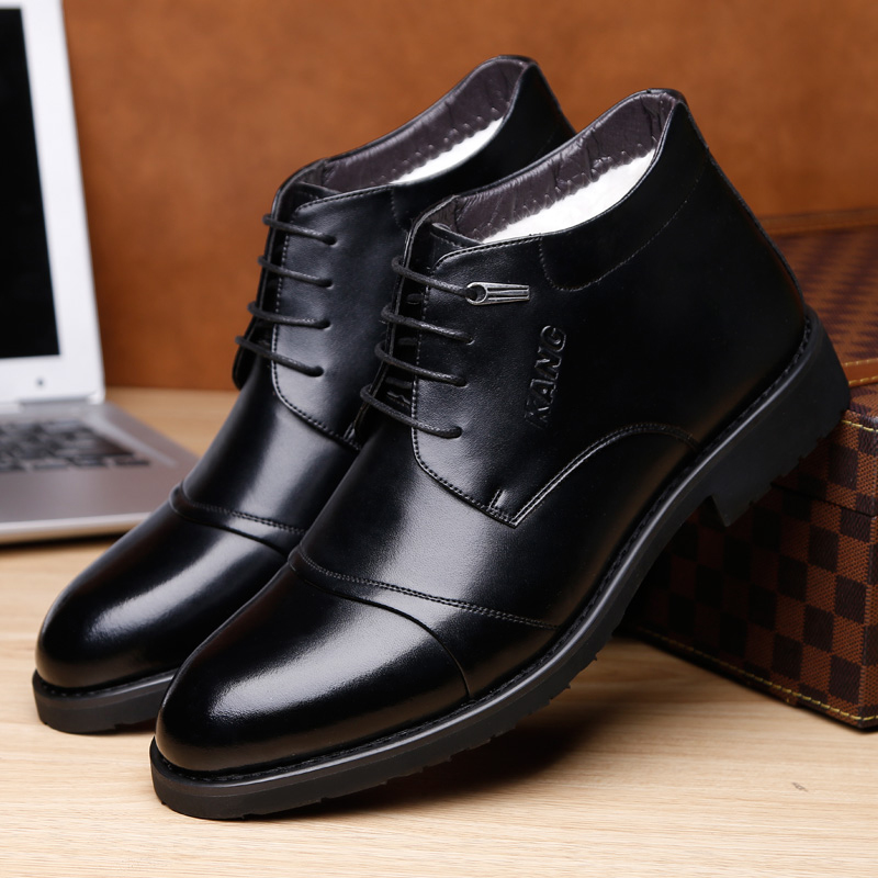 OSCO Brand Genuine Leather Men Shoes Autumn Winter Men Boots 100% Cow leather Men Business Casual Boots Lace-up Inside Wool loose fit casual thicken plaid lace up wool pants for men