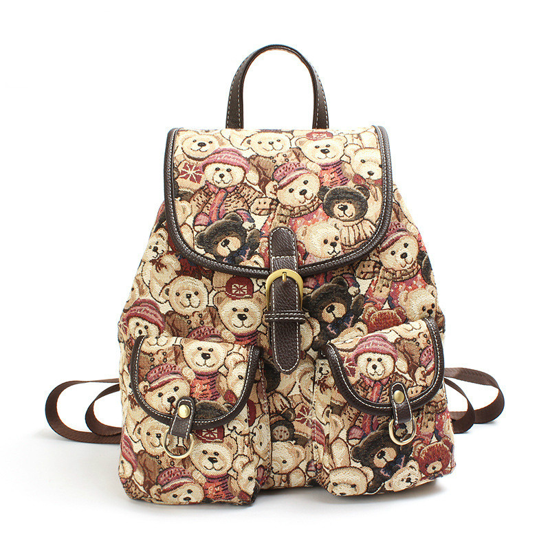 Princess Cute Bear Women Bag Sweet Style Backpack Lovely Bear Fashion Casual Canvas Backpack Bag
