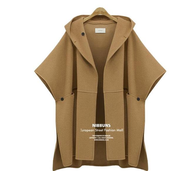 2016 Hot Ladies European and American woolen cape coat new winter woolen coat long women's coat XL-5XL