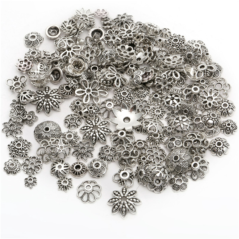 150pcs Tibetan Antique Silver Color Beads End Caps Flower Bead Caps For Jewelry Making