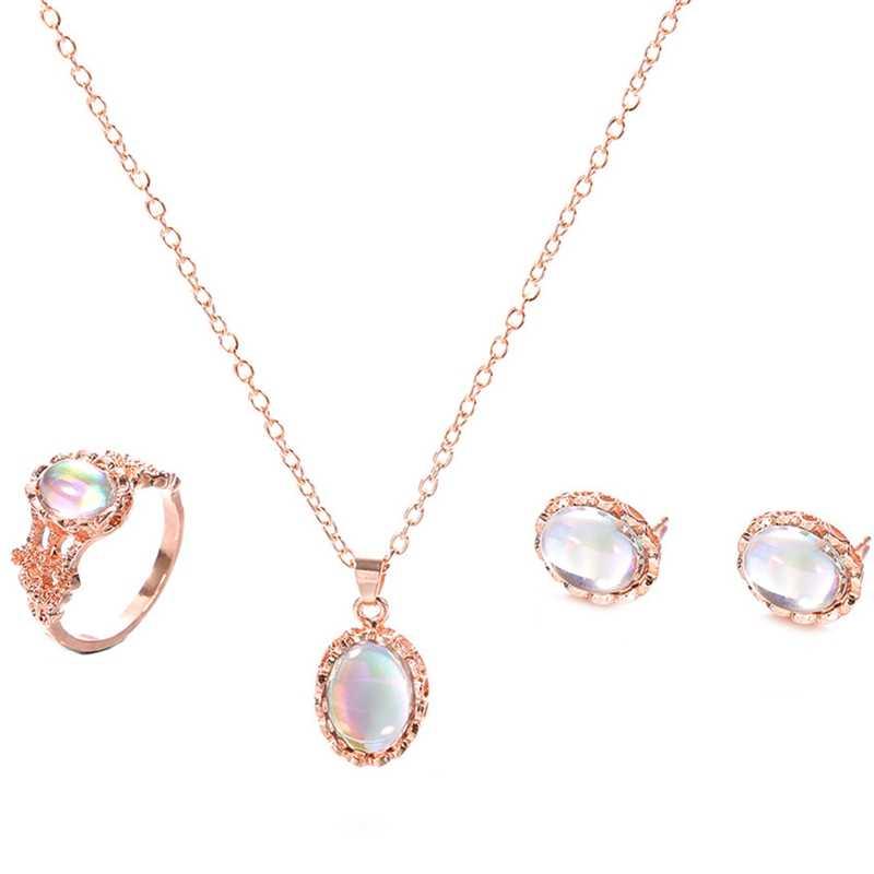Trendy Opal Schmuck Sets Für Frauen Rose Gold Farbe Anhänger Halsketten Ring Ohrringe Set Hochzeit Schmuck Geschenke