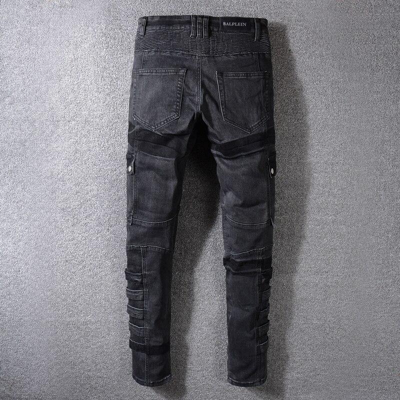 Fit Straight High Cargo Style Noir Gris Jeans Hommes Pantalon Couleur Hiver Patchwork Punk Street Mode De Biker Automne qWwOvtAPx