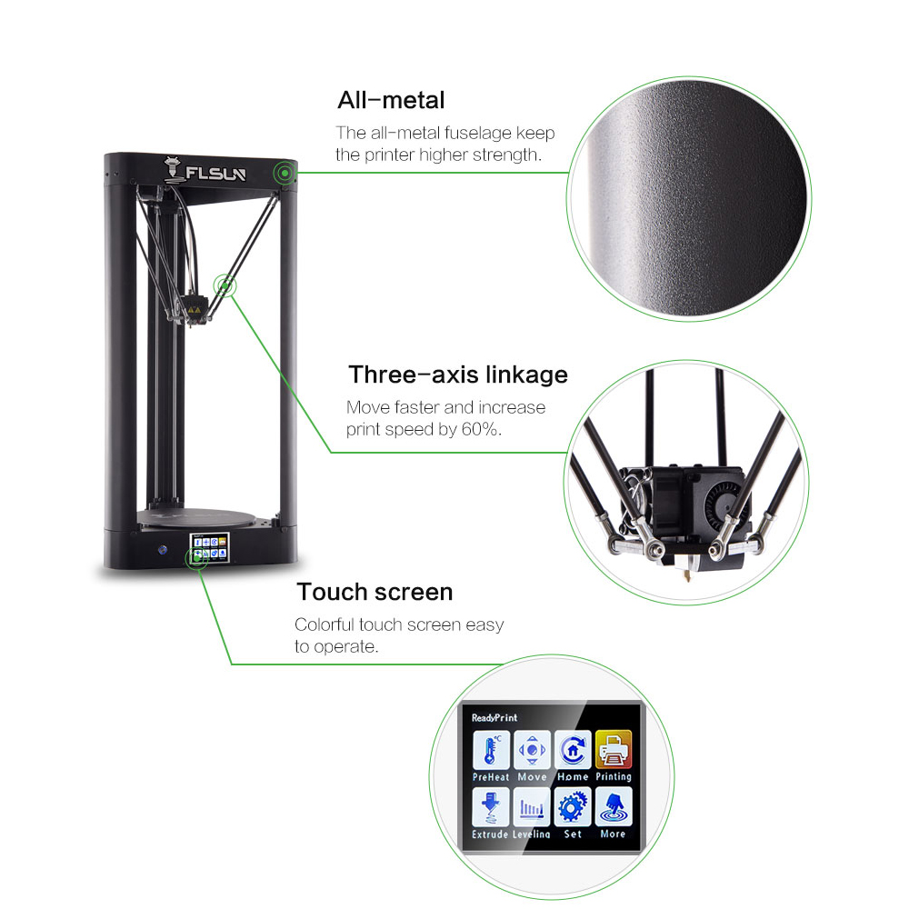Flsun QQ-S 3D Printer Kossel Auto Leveling Lattice platform Pre-assembly Titan extruder TFT Touch Screen Wifi Power off Resume