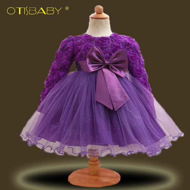 9ca93fc50596 Winter Flower Baby Dress Frocks with Bow Tie Infant Long Sleeve ...