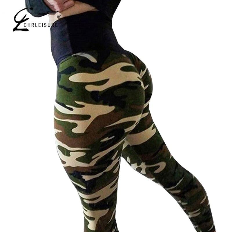 CHRLEISURE Women Camouflage Leggings For Fitness Legging High Waist Sportswear Leggins Femme Elasticity Wrinkle Leggings 4Color