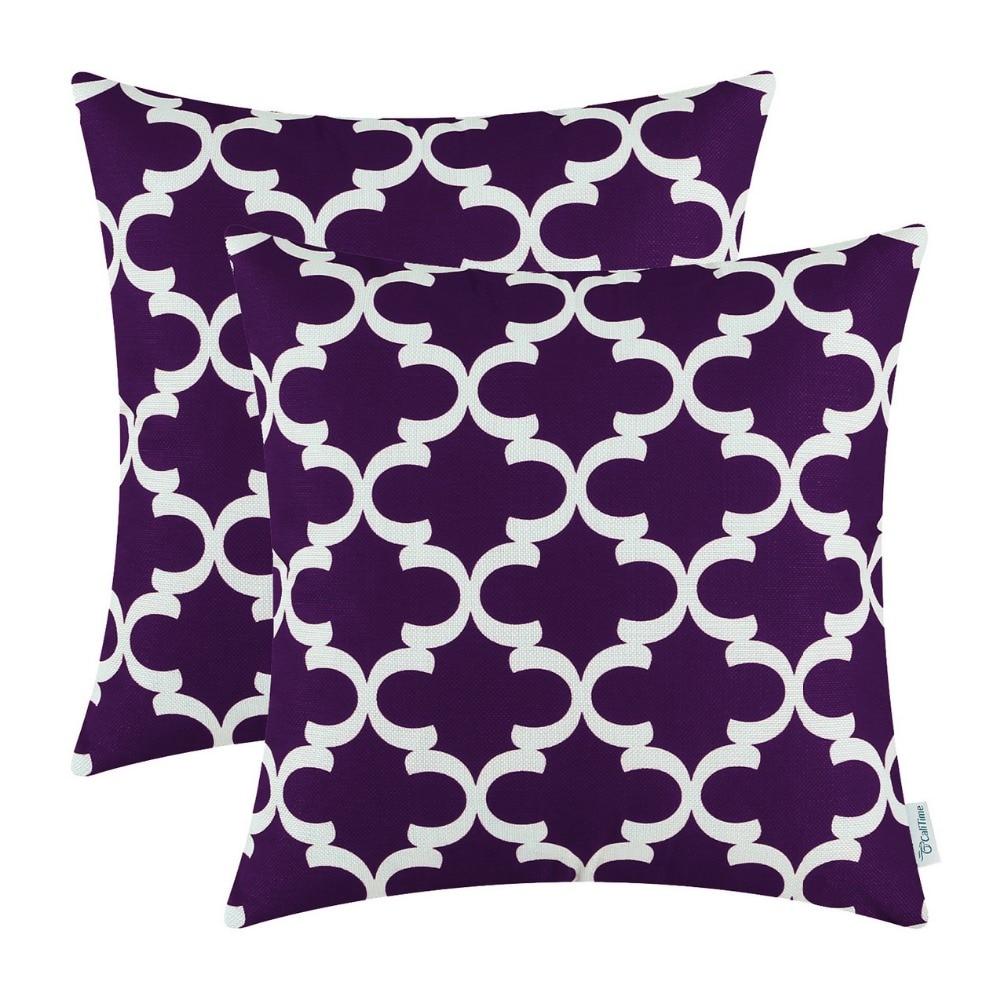 2PCS Square CaliTime Cushion Cover Pillows Shell Quatrefoil Accent Geometric Home Sofa Decor 20 X 20(50cm X 50cm) Purple