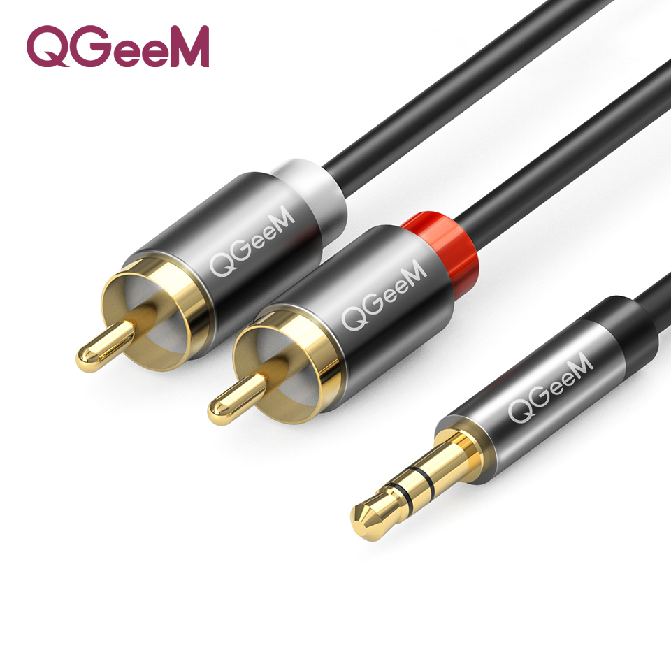 Image 1 - QGEEM  RCA Cable 2rca to 3.5 audio cable rca 3.5mm Jack For phone Edifer Home Theater DVD 2RCA aux Cable For Headphone aux cab