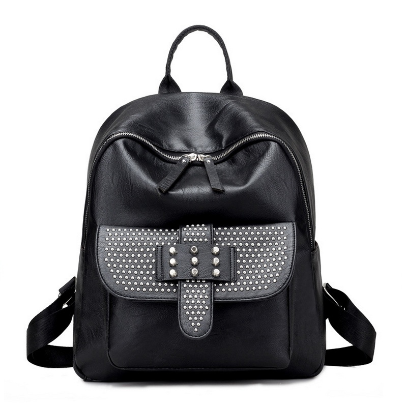 Black Backpack 2017 Fashion PU Leather Shoulder Bag Rivet Bagpack School Backpack For Girls WM444Z mochila