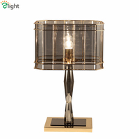 Post Modern Luxury Gray Glass Crystal Led Table Lamp Lustre Plate Metal Desk Lamp Bedside Lam Luminaire Lamparas Indoor Lighting