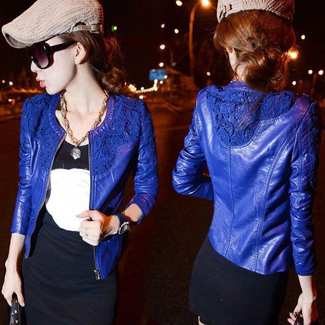Весна Осень Женщины искусственная кожа куртка пальто черные женские кожаные куртки мотоцикла дешевые тонкий промывают водой пальто