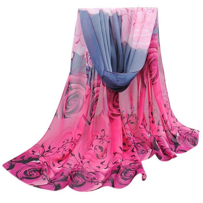 #4522 Enduring Women Beautiful Rose Pattern Chiffon Shawl   Wrap     Wraps     Scarf     Scarves   free shipping