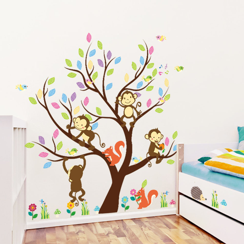popular animated family tree buy cheap animated family tree lots family tree wall stickers 2pc set removable animal tree decals for kids room wallpaper art