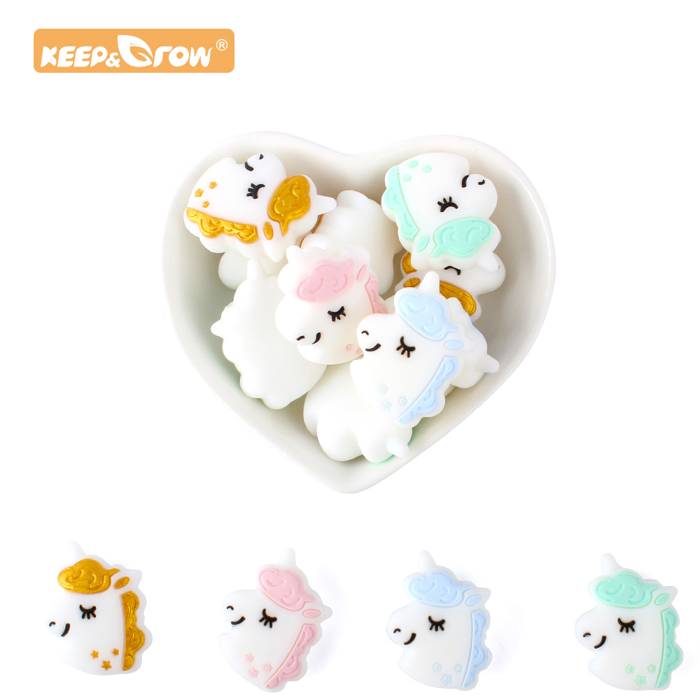 Keep&Grow 4pcs Unicorn Silicone Beads Animal Teether Beads BPA Free Baby Teething Necklace DIY Infant Chewable Pacifier Chain
