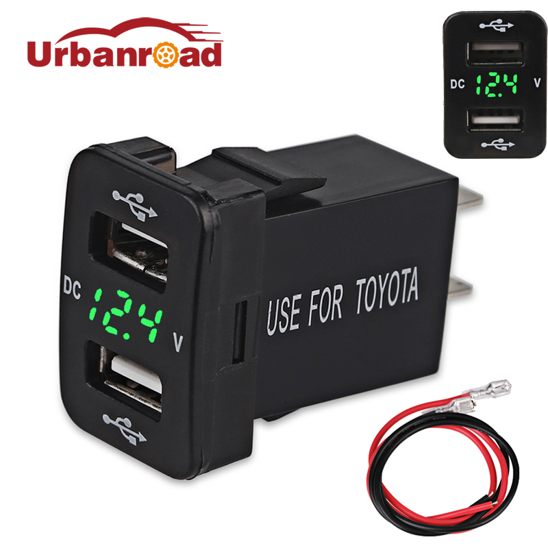 Urbanroad Dc 12v USB Socket Charger Voltage Meter Voltmeter Cigarette Lighter 2 Ports Power Adapter Interface Charger For Toyota 600 pcs copper wire crimp tube connector spade insulated cord end cable wire terminal kit diy hand tool set for 22 10awg