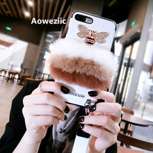 Aoweziic Fashion Luxury bee horn rabbit hair for iphone X 7 8plus mobile phone case female lanyard silicone case soft 6s