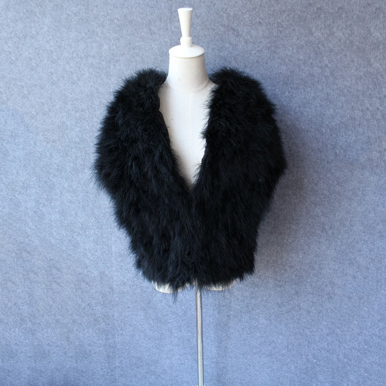 2aee841f7f60d US $40.8 49% OFF|100% Real turkey Fur Shawls Natural Fur Wrap Women Evening  Dress Solid black Winter Fashion Ostrich Turkey Feather Pashmina cape-in ...