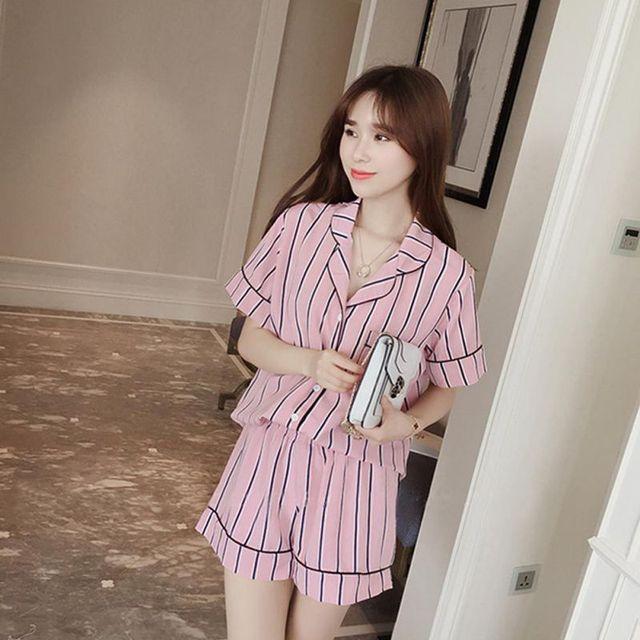 Women's Summer Pajamas Turn-down Sleepwear Collar 2 Piece Set Shirt + Striped Shorts Casual Pajama Sets