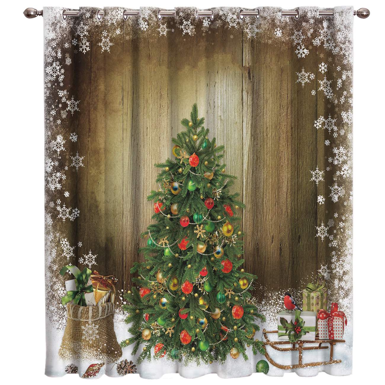 Merry Christmas Snow Flower Window Treatments Curtains Valance Bedroom Curtains Outdoor Bedroom Kids Window Curtain Panels