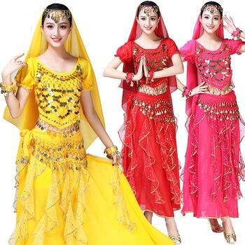 Bollywood Belly Dance Costume Set Indian Sari Bellydance Skirt Suit Women Chiffon 4pcs (Headpieces Veil Top Belt Skirt)