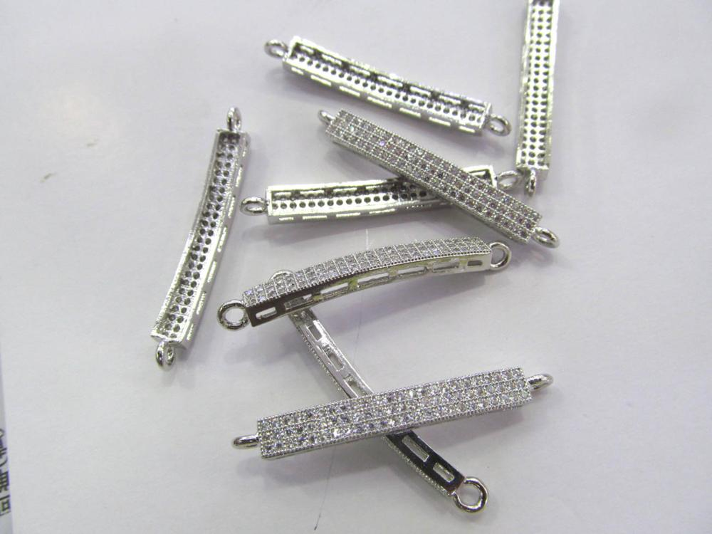 12pcs 6x40mm CZ Micro Pave Diamond Cubic Zirconia antique silver bar connector beads,double loops 12pcs 10x15mm micro pave diamond cubic zicronia drum tube black jet gunmtal connector beads cz pave