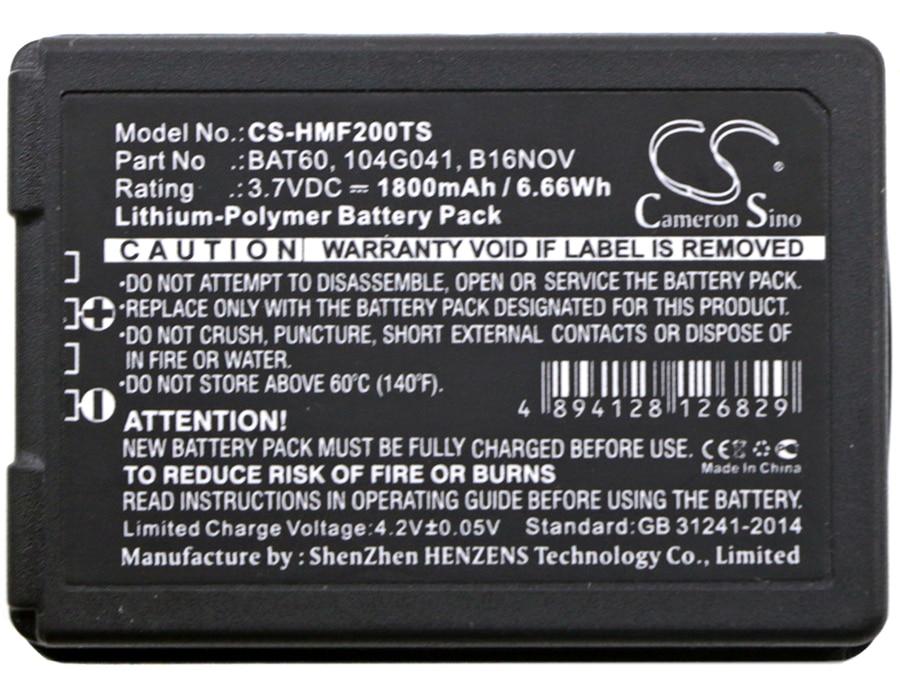 Cameron sino 1800mah bateria clear-com 104g041 16nov bat60 hme 104g041 b16nov bat60, para hme/clear-com freespeak ii