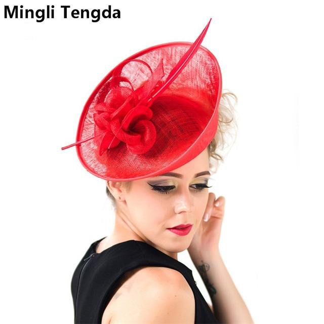 Mingli Tengda Pink Wedding Hats For Women Elegant Vintage Bridal Accessories 2018 Chapeaux De